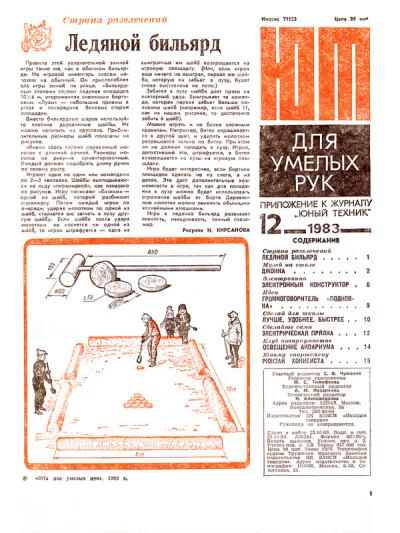 «ЮТ» для умелых рук 12.1983 - обложка