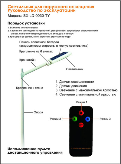 Скачать книгуСветильник для наружного освещения SX-LD-0020-TY — инструкция на русском языке